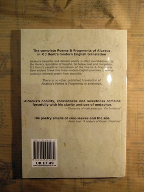 Alcaeus back cover Atlantis Books, Santorini