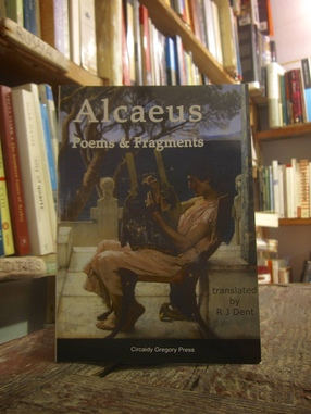 Alcaeus on a shelf, Atlantis Books, Santorini